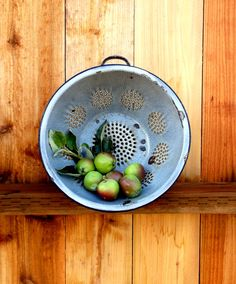 Vintage Metal Colander Graniteware Colander by happenstanceNwhimsy