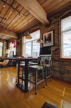Toronto Lofts, Industrial Office Space, Hardwood Floors, Flooring, Exposed Brick Walls, Open Concept Kitchen, Wood Ceilings, The Unit, Room