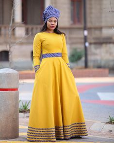 Unleash your confidence in this Tebogo maxi dress - Shweshwe Edition Colou African Dresses For Kids, African Maxi Dresses, Latest African Fashion Dresses, African Print Fashion, African Attire, Seshweshwe Dresses, Xhosa Attire, Wedding Dresses, African Fashion Traditional