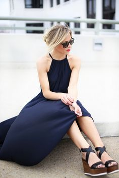 Navy dress + wedges