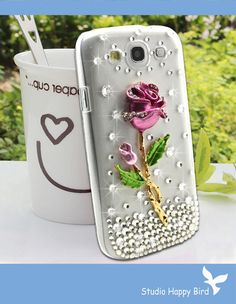 FREE SHIP Vans Bling Crystal Diamonded Pink Rose Flower Phone Hard Cover Case for Samsung i9300 Galaxy S3. $16.99, via Etsy.