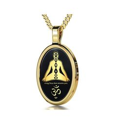 Chakra Jewelry  Om Necklace  Symbol Pendant Inscribed in