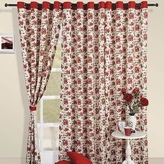 Rose Print Curtains- Adorn your interiors in romantic red roses and create a passionate home environment. Curtain Wire, Curtain Rods, Rose Curtains, Bedroom Curtains, Decorating Your Home, Interior Decorating, Printed Curtains, Romantic Roses, Light Texture