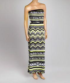 Look what I found on #zulily! Black & Citron Zigzag Strapless Dress #zulilyfinds