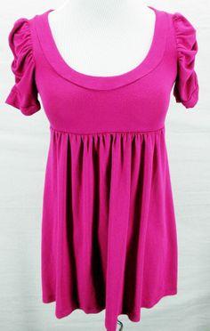 Anthropologie SOPRANO Bright Purple Low Cut Stretch Cinch Babydoll Day Dress M