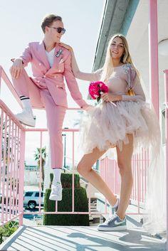 Crazy Pink Las Vegas Elopement · Rock n Roll Bride Weird Wedding Dress, Mini Wedding Dresses, Edgy Wedding, Chiffon Wedding Gowns, Pink Mini Dresses, Wedding Suits, Dream Wedding, Couple Style, Las Vegas Weddings