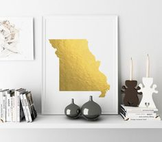 USA MAP PRINTABLE Missouri Gold Foil Poster by TypoStoreDesign