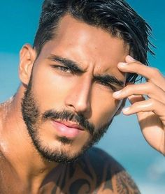 His hair, eyebrows, moustache and beard. Beautiful Men Faces, Gorgeous Men, Guys Eyebrows, The Face, Handsome Faces, Handsome Man, Face Men, Hommes Sexy, Hair And Beard Styles