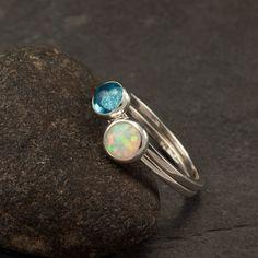 Stacking Rings Blue Topaz Ring, Opal Ring