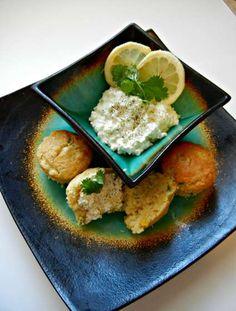 Honey Cilantro Garlic Cornbread Muffins with Lemon-Lime Cream Cheese Spread