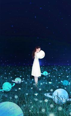 Kawaii Drawings, Cute Drawings, Cute Wallpapers, Wallpaper Backgrounds, Astro Wallpaper, Moon Art, Cute Illustration, Cute Art, Art Girl