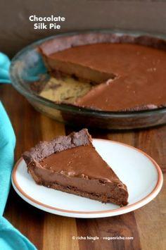 Dark Chocolate Silk Pie with Chocolate Almond Crust. Vegan Glutenfree Soyfree Recipe