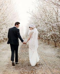 Almond Orchard Wedding Inspiration.  photography: This Modern Romance  dress: Claire Pettibone