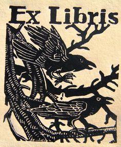 Raven Book Plate.  S Hallagan Linocuts