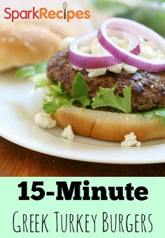 Greek Turkey Burger. Wow, this recipe really took turkey burgers up a notch for me! Everyone loved them! | via @SparkPeople #burger #grilling #health #wellness #healthy #turkeyburger #dinner #Greek #recipe