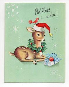Vintage Unused Dreyfuss Christmas Greeting Card Adorable Deer Wearing Santa Hat