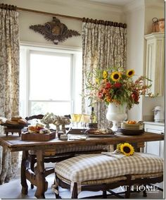 Love The Bench With Buffalo Plaid Fabric Curtains And Wood Helps White