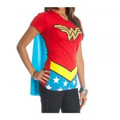 Wonder Woman Costume Juniors V-Neck T-Shirt With Cape