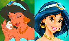 """The """"new look"""" Jasmine. Looks like the main differences are that she died her hair blue and finally realised those earrings didn't work on her and changed them. Oh, and she underwent """"reverse tanning"""" :\ From: http://thedisneyprincess.tumblr.com/post/41974098899"""