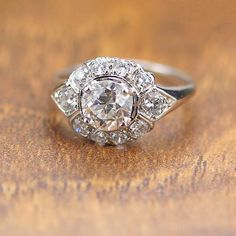 Calla Lily Diamond Engagement Ring New Replica Halo Engagement Ring with 1 01 Ct Old European Cut Gallery Vintage Engagement Rings, Vintage Rings, Diamond Engagement Rings, Vintage Jewelry, Halo Engagement, Vintage Diamond, Diamond Rings, Diamond Cuts, Emerald Rings