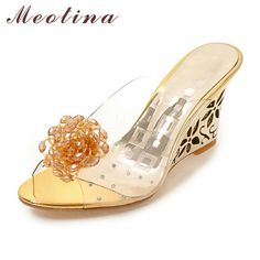 KARINLUNA 2018 big size flower peep toe cut outs wedge fretwork heels woman  shoes women fashion lady mules pumps 9a96ce0542e9