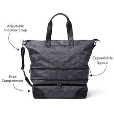 The Escape bag is your new travel bag, and one you don't want to be without for your next trip. With an adjustable shoulder strap, extra zipper to give you 4 more inches of space and a separate shoe compartment, you just can't go wrong!