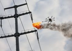 Power Company Uses Fire-Spewing Drone to Clean Power Lines. A Chinese company developed a unique way to clean off power lines.They use a fire drone to shoot flames at trash stuck on high-voltage wires.