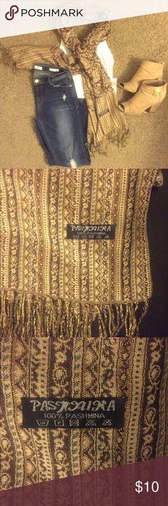 Pashmina shawl scarf wrap 100% pashmina  Soft smooth feel Knitted tassels on each end Accessories