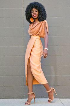 Style Pantry   Cowl Neck Blouse + Tan Front Slit Midi Skirt