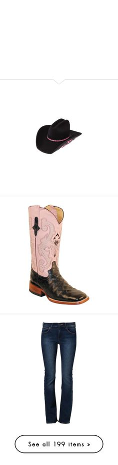 """"" by willfongdanielle ❤ liked on Polyvore featuring accessories, hats, western felt hats, cowboy hat, felt cowboy hats, western hats, cowgirl hats, shoes, boots and pink leather boots"