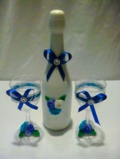 Wine Bottle and Bride and Groom Glasses