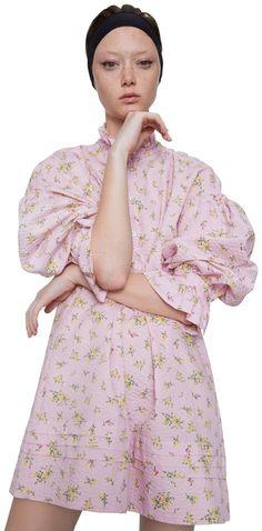 ZARA Satén Crema /& Blusa floral-tamaño XS-RRP £ 29.95