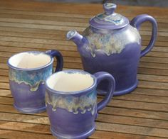 Purple Satin Tea Set with gray green and blue by muddywaterscc
