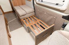 Survival camping tips Camper Beds, Car Camper, Camper Caravan, Camper Trailers, Campervan Bed, Campervan Interior, Motorhome, Astuces Camping-car, Minivan Camper Conversion