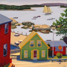 ۩۩ Painting the Town ۩۩ city, town, village & house art - Martha Baum Nova Scotia, Acrylic Painting Canvas, Canvas Art, Kitsch, Landscape Paintings, House Paintings, Landscapes, Building Art, Urban Landscape
