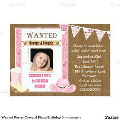 """Wanted Poster Cowgirl Photo Birthday 5"""" X 7"""" Invitation Card"""