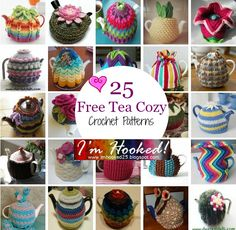 Free Tea Cozy Crochet Patterns Whimsical, beautiful, and sometimes simple, tea cozies are there for one reason.... Okay- two reasons: keep your tea warm and delight the senses by adding texture, color, and sometimes silliness. I'm Hooked has found these incredible tea cozy crochet patterns for