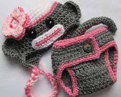 pink newborn sock monkey hat and monkey pants 03 by GrammiesHats, $24.00