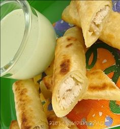 Chicken Taquitos with creamy cilantro dressing (baked, not fried)
