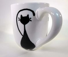 Kitty Love Cat Lover Hand Painted Stoneware Coffe Mug Ready to Ship!