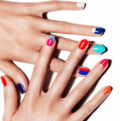 A manicure featuring color blocking done at Tenoverten in New York.