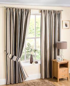 "Henley Black, Cream & Silver 90"" (width) x 90"" (drop) Contemporary Stripe Cotton Print Pencil Pleat Curtains. Sold in pairs. Homemaker http://www.amazon.co.uk/dp/B00FI0RVF4/ref=cm_sw_r_pi_dp_MLkHub1JP3KD2"
