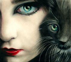 "Brian Scott; Colored Pencil Drawing ""Feline"""