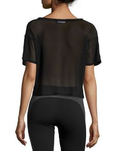 Solow Mesh-Back Cropped Tee, Black Gym Essentials, Last Call, Crop Tee, Clearance Sale, Neiman Marcus, Wetsuit, Mesh, Shopping, Collection