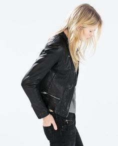 ZARA - COLLECTION SS15 - LEATHER JACKET WITH ZIPS
