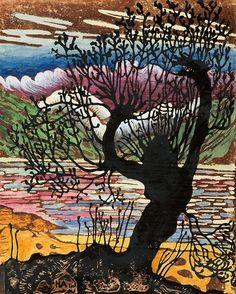 Nikolai Astrup (1880-1928): Seljekall, Farvetresnitt