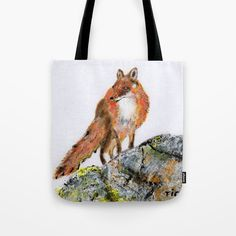 Fox Tote Bag by ticu Beach Bags, Poplin Fabric, Hand Sewn, Totes, Stress, Fox, Reusable Tote Bags, Stitch, Canvas