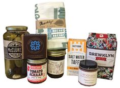 Best of Brooklyn has to offer with McClures pickles, Brewklyn grind coffee, Brooklyn Delhi Achaar Relish, Nunu chocolate 4 piece salt caramel, Spoonable caramel sauce, The jam stand jam, The salty road taffy and Claudia Pearson illustrated tea towel.