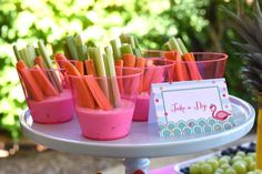 Veggies and dip from Pink Flamingo  Pool Party at Kara's Party Ideas. See more at karaspartyideas.com!