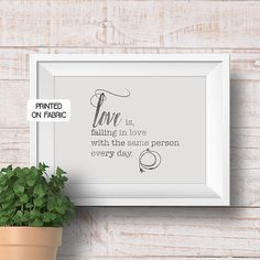 Love quote art print handprinted on fabric. Original gift for the couple or as wedding decor. By My Home and Yours